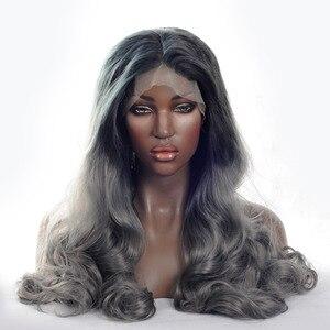 V'NICE moda Ombre ciemny szary ciało fala syntetyczna koronka przodu peruka czarne korzenie na szary peruki termoodporne dla kobiet 20-24in