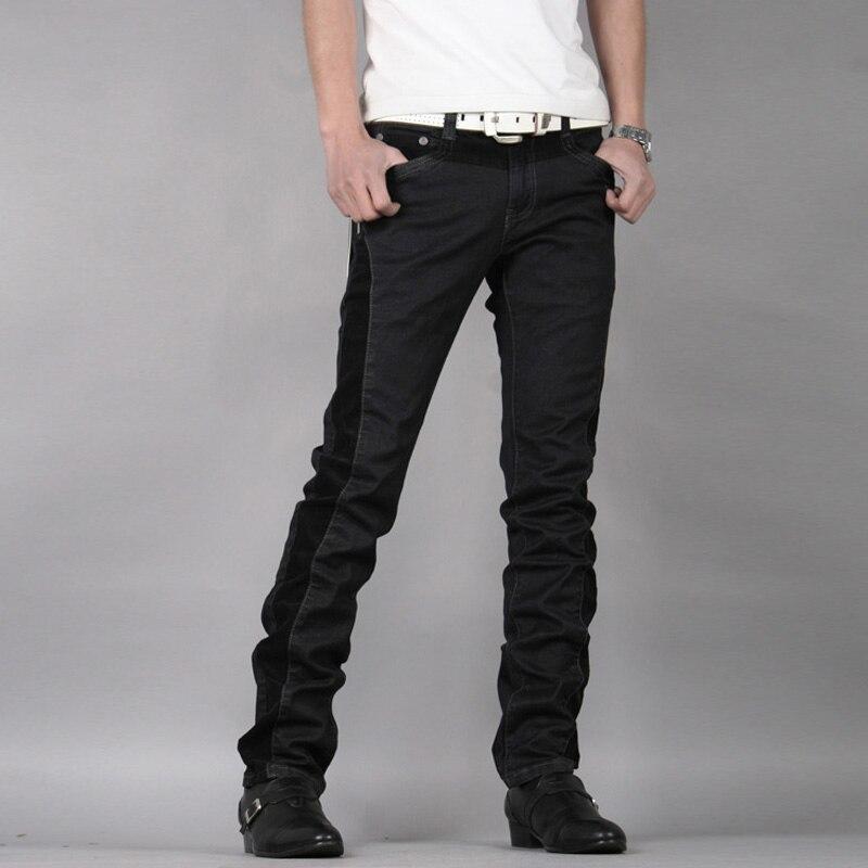 2019 Winter Skinny Jeans Fashion Solid Patchwork Slim Plus Velvet Thick Warm Jeans Mid Waist Straight Denim Trousers Black Pants