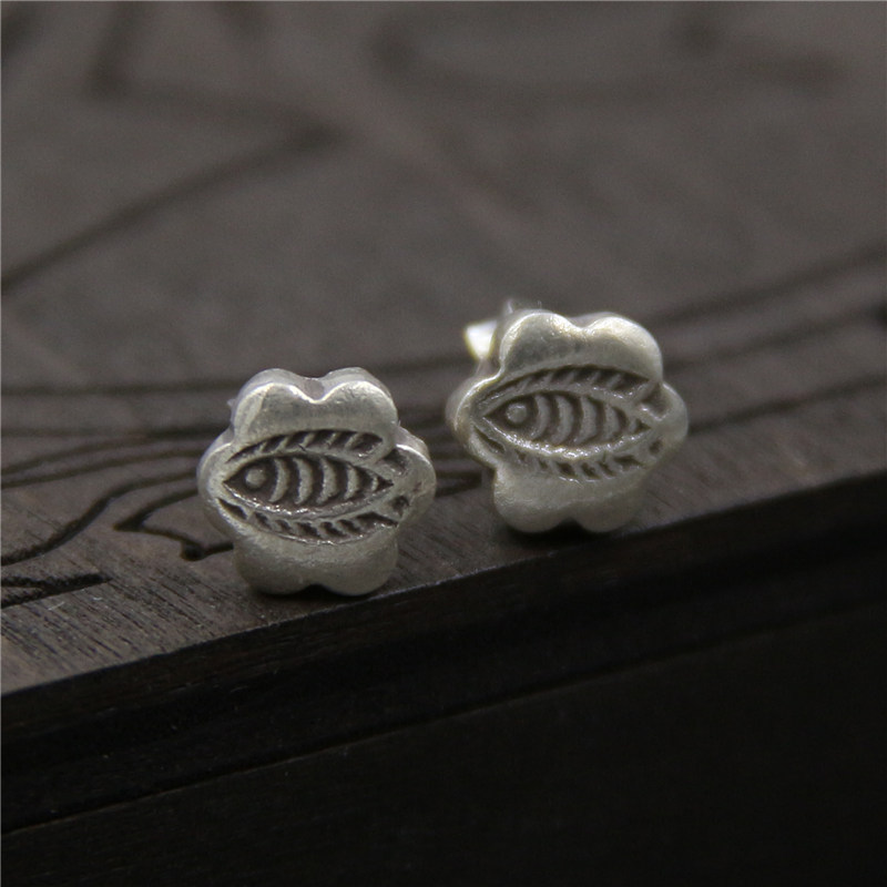 C&R Real S925 Stud Earrings for Women Irregular Shape Sculpture Fish Thai Silver Earrings Handmade Cute Fine Jewelry