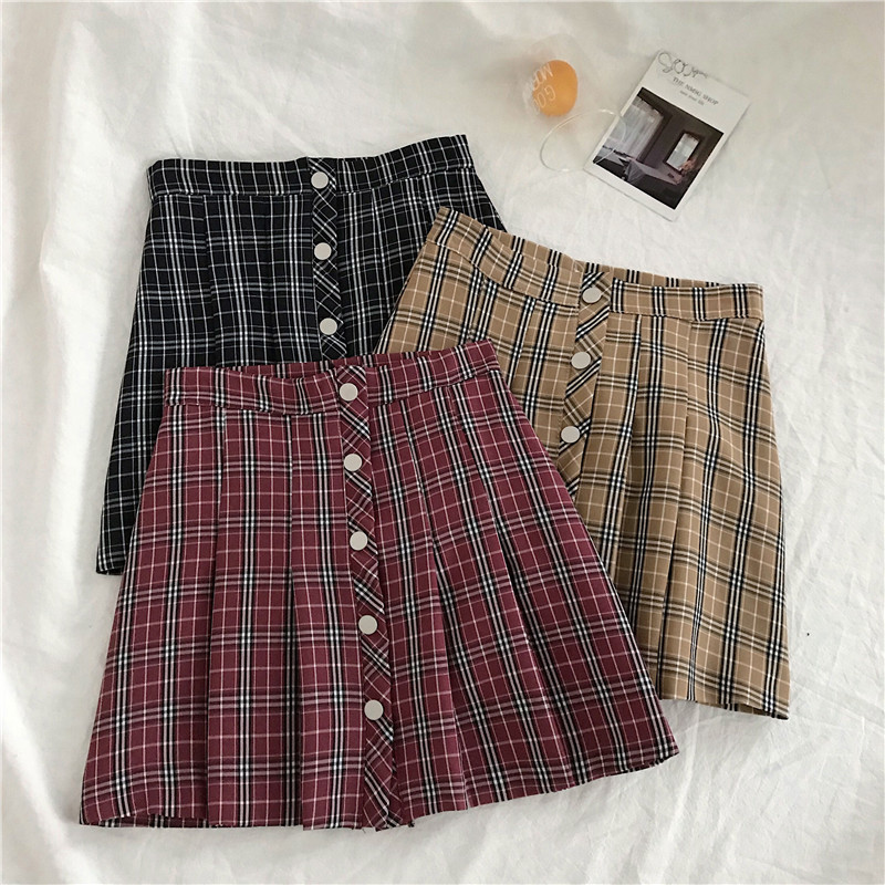 Vintage Plaid Print Trendy Button Ladies Spring Summer Mini Short Skirt Women High Waist Casual Pleated Student A-Line Skirts