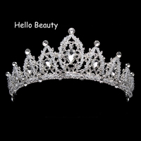 Silver Classic Vintage Crystal Beads Wedding Crown Rhinestone Prom Tiaras Bride Hair Jewelry Bridal Hairwear
