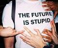O futuro é estúpido de mulheres moda verão de manga curta de algodão