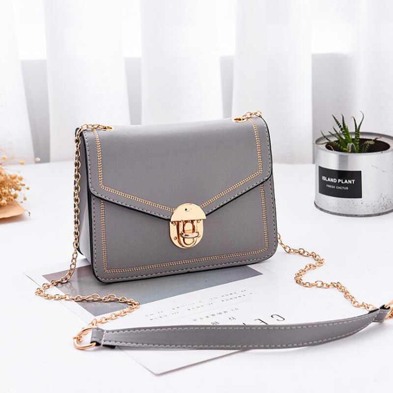 Summer cla 2019 летняя новая женская сумка сумки с цепочкой и замком через плечо из искусственной кожи маленькие женские сумки-мессенджеры