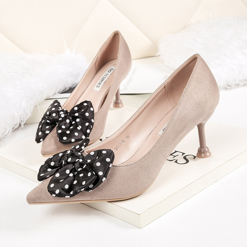Hot New 2019 Spring Shallow Pointed Toe Med Kitten Heel Shoes Ladies Bow Leopard Dot Pumps Women Shoes OL Office Shoe