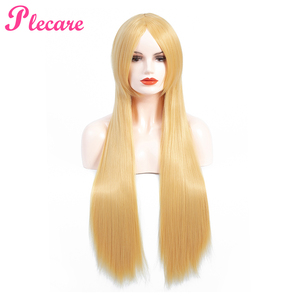 Image 1 - Plecare Long Blonde Wig Ombre Synthetic Wig  Heat Resistant  Pruiken Wig For Black/White Women Cosplay Wig