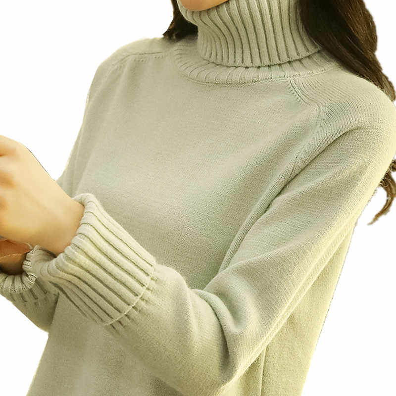B3380 2019 autumn winter new women's fashion turtleneck loose students long sleeve knit sweater cheap wholesale