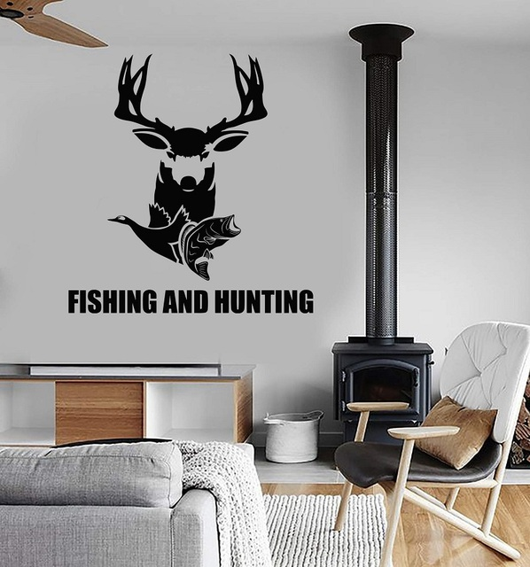 Home Decor Vinyl Wall Decal Fishing Hunting Fish Hobby Deer Sticker Mural Art Deco Interior Wallpaper  2KN16