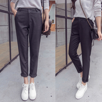 Harem pants trousers British wind striped suit pants female nine pants feet thin high waist black pants thin section T