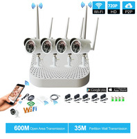 Plug And Play 4CH 1080P HD Wireless NVR Kit P2P 720P Indoor Outdoor IR Night Vision