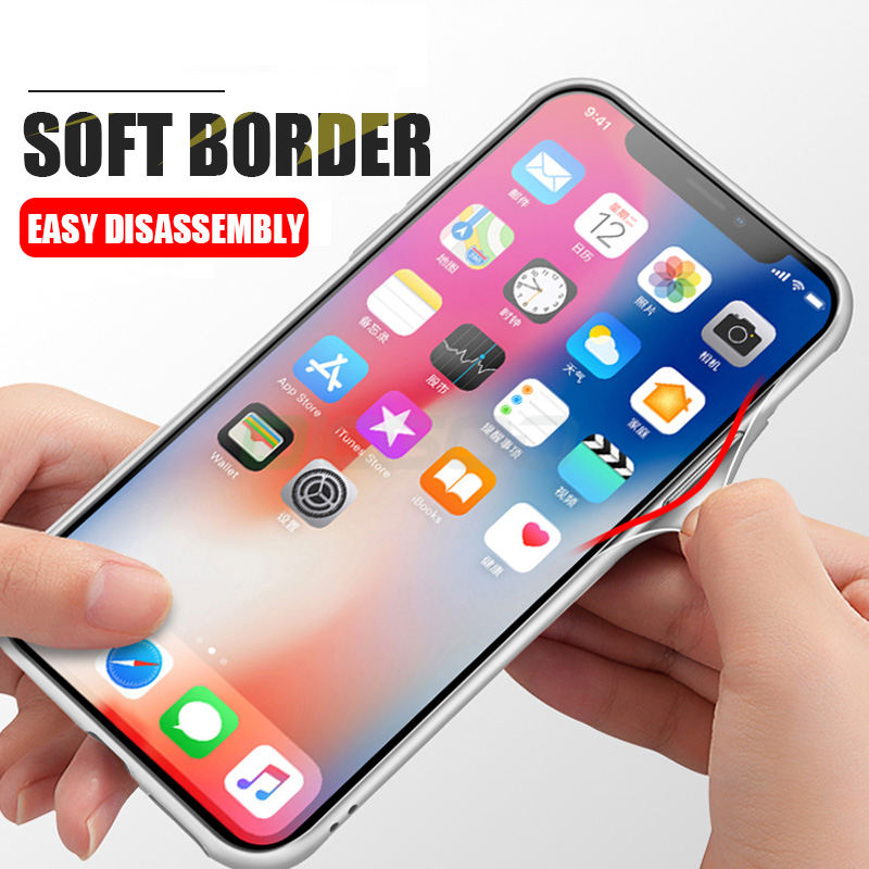 Back Glass Phone Iphone 8 7 6 Plus X Anti-Knock Glass + Silicone TPU Cover For Iphone X 10 8 7 6 6S Case