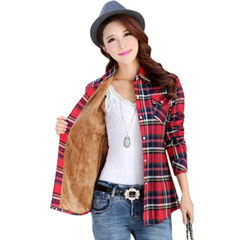 Buy autumn winter warm shirt women cotton for Thick long sleeve shirts