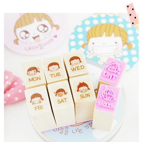 Wood Stamp 8pcs/set 5Sets DIY Diary Girl Week Schedule Cute Box Pack Promotion Fashion Novel Gift individual package 07254