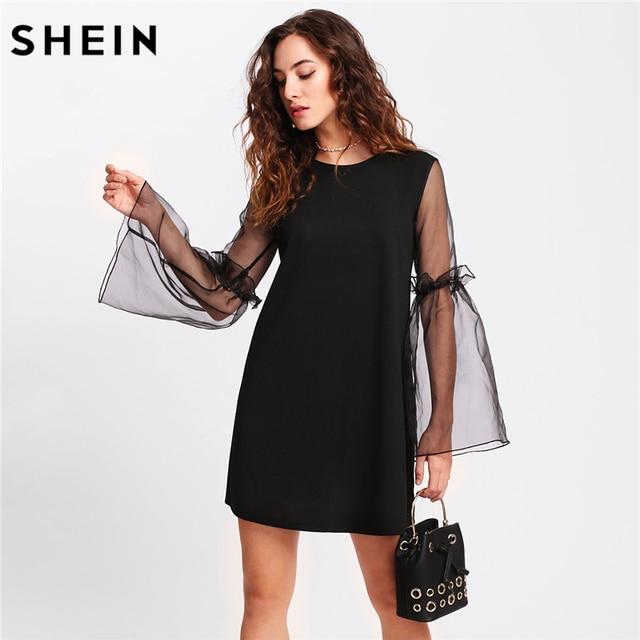 5af4951994f Шеин Цельнокройное платье Для женщин контраст с сетчатыми рукавами оборками  туника платье женщина черный с длинным