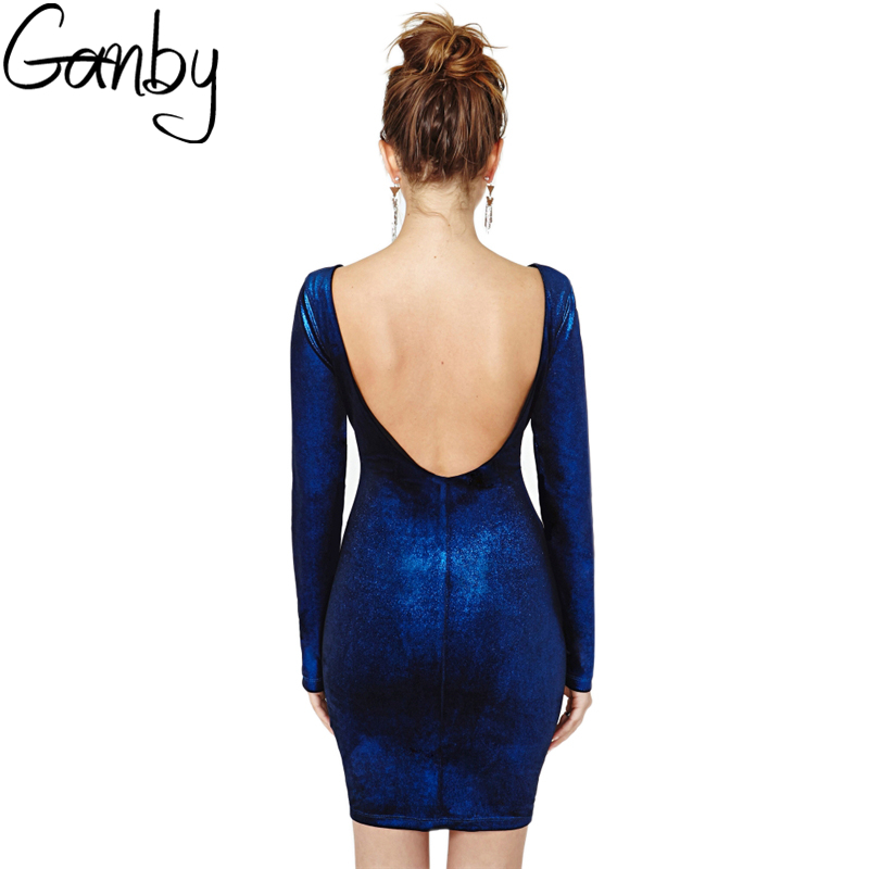 2017 new fashion Russian style Autumn Women Sexy Bodycon Velvet Backless Dress 2 colors Round-neck long sleeve Women dresses Hot
