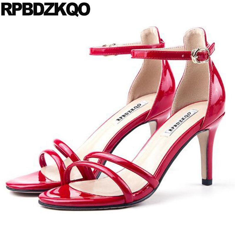 Korean Pumps Red Strap Women Open Toe Heels Stiletto Patent Leather 2018 High Large Size Designer Ankle Sandals Strappy 11 Shoes red high heels women shoes open toe ankle strap blue sandals stiletto chic fringed party d orsay shoes ladies large size 16
