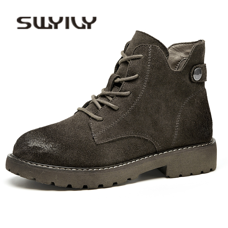 SWYIVY Womens Martin Boots Ankle British Retro 2018 Autumn Winter Female Plush Fur Warm Snow Boots Shoe Genuine Leather Shoes  SWYIVY Womens Martin Boots Ankle British Retro 2018 Autumn Winter Female Plush Fur Warm Snow Boots Shoe Genuine Leather Shoes