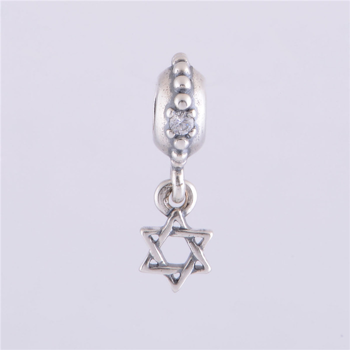 Authentic 925 sterling silver star of david with clear cz for Star of david jewelry wholesale