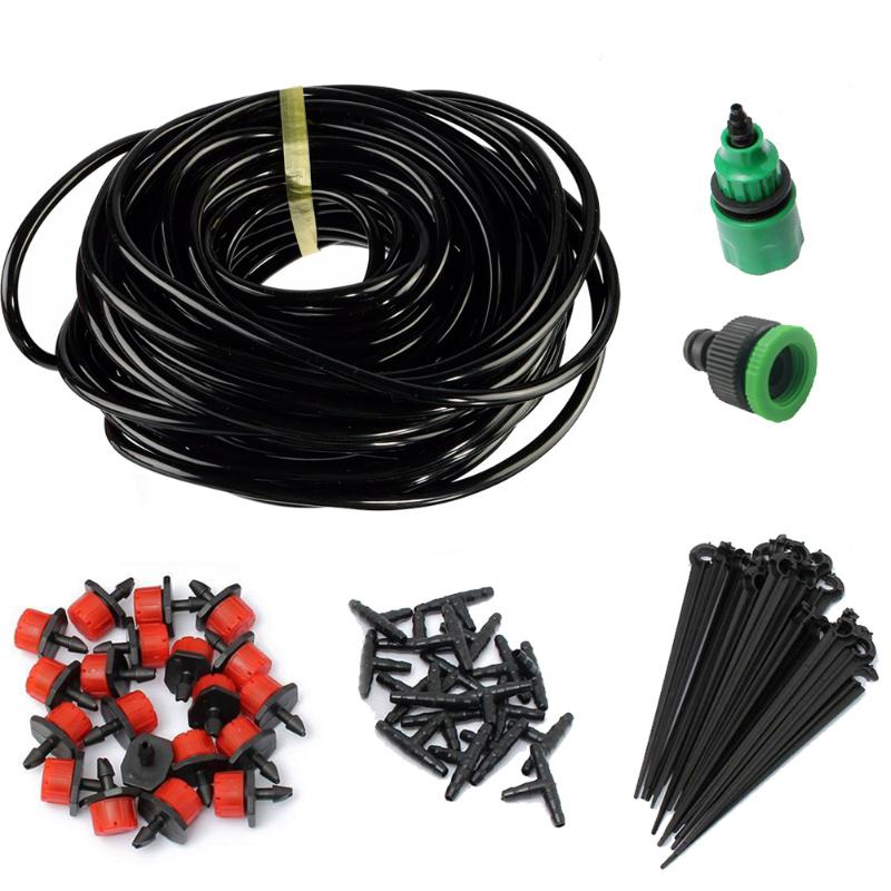 25M DIY Watering Drip Irrigation System Automatic Micro Garden Dripper Head Connector Garden Tool for Flowerspot Plants Watering extrusion type plastic plants watering can kettle ivory 250ml