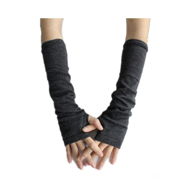 CUHAKCI Knitted Protection Fingerless Long Gloves Women Arm Warmers Solid Warm Mittens Half Finger Sleeves Black 4