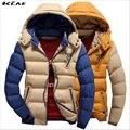 Homens Jaqueta de Inverno 2016 Novo Casaco de algodão Com Capuz Espessamento Quente Para Baixo Parkas Casual Plus Size M-3XL