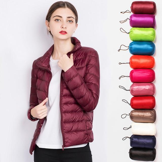Chaqueta de invierno con cuello alto para mujer, abrigo de plumón de pato de invierno de 90%, ropa exterior ultraligera, cálida y portátil, de talla grande, de color sólido cálido para mujer abrigo