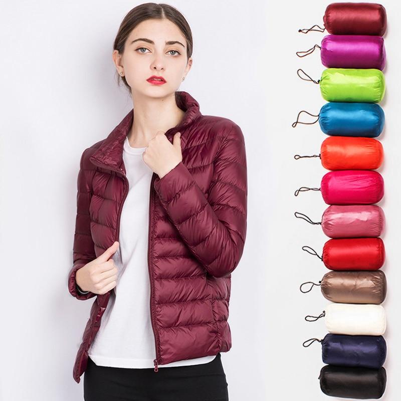 Stand Collar Women   Down   Jacket Winter 90% duck   down     coat   ultra light outwear portable warm plus size female warm solid overcoat
