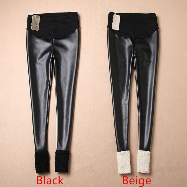 Plus Velvet Winter Spring Autumn Trousers Cotton Adjustable High Leather Flannelette Maternity Leggings Pregnant Pants B181