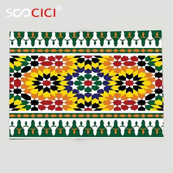 Custom Soft Fleece Throw Blanket Moroccan Decor Vibrant Old Fashion Indie African Tribal Pattern with Eastern Influences Print