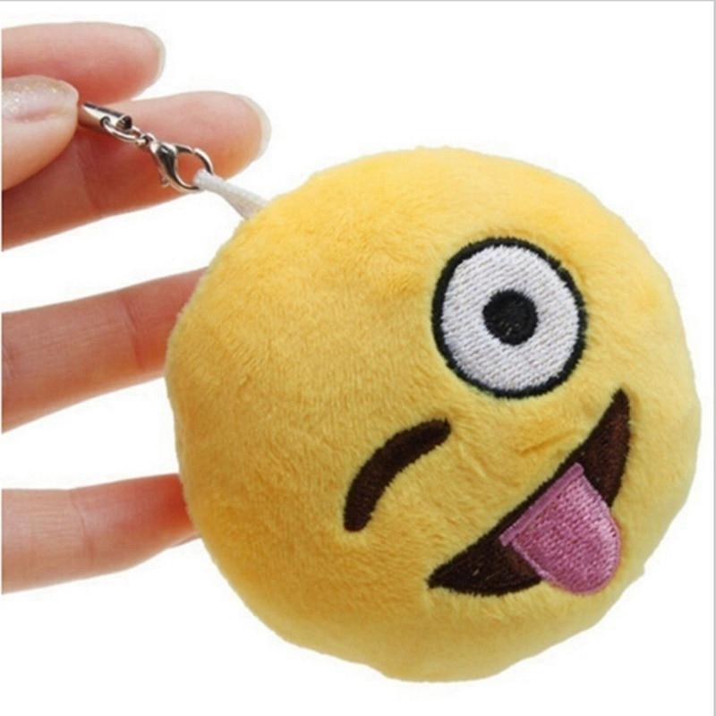 emoji cute keychains cartoon face smile Soft Round Stuffed Plush Toy Doll Keyrings 2.7cm Phone women Key Holder figure