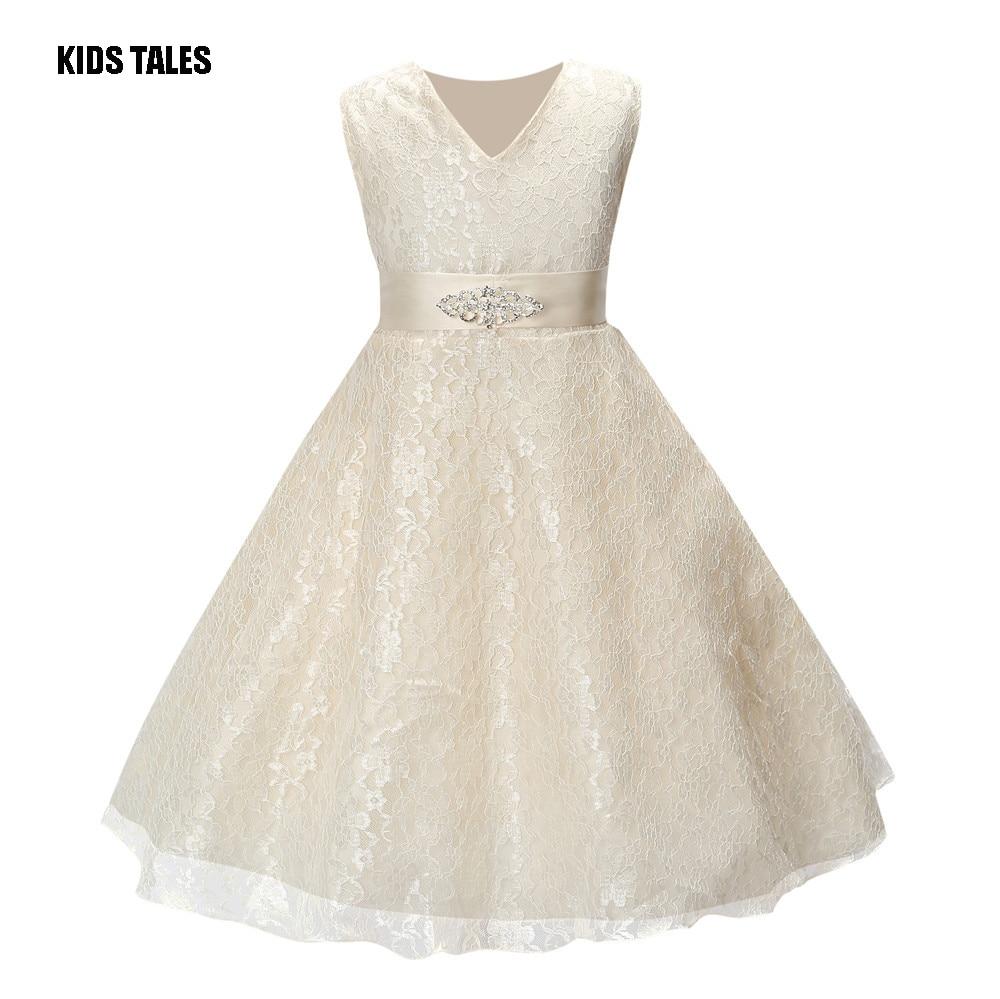 KIDS TALES Girls Party Wear Cloth for Children Summer Sleeveless Lace Princess Wedding Dress Girls Teenage Wear Party Prom Dress цена