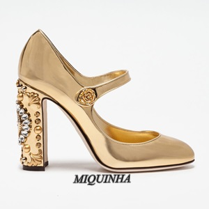 hot selling gold silver watches and clocks pumps women round toe crystal buckle strappy single strap chunky high heel footwear