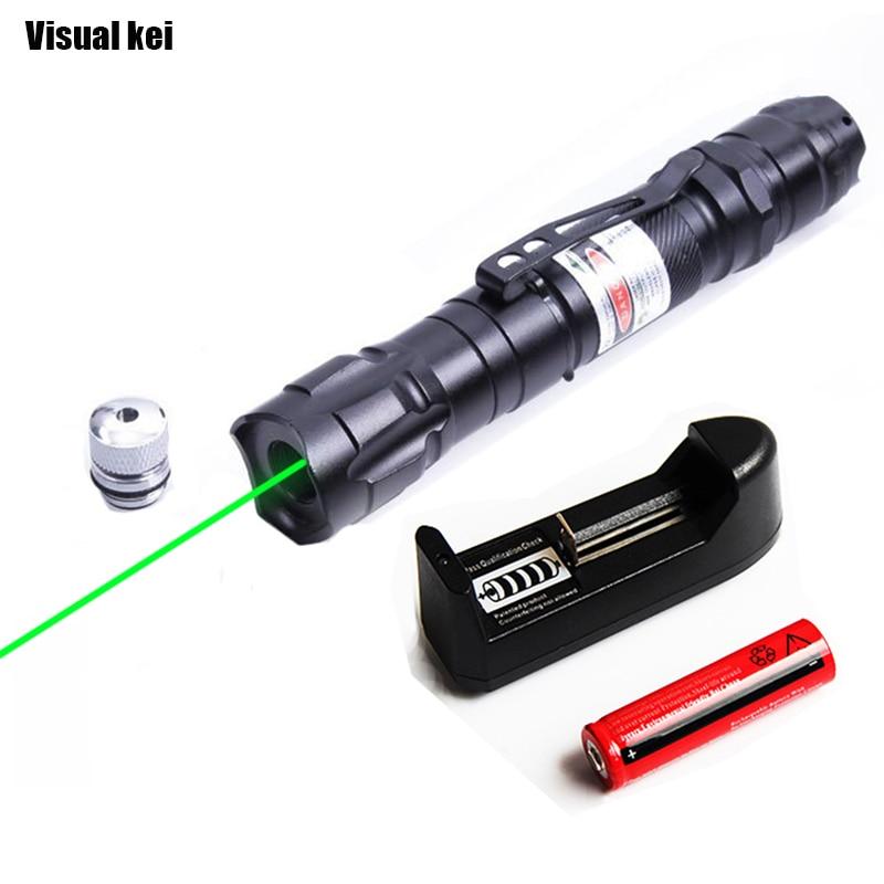 Visual kei Portatile Laser Verde lega di Alluminio Caccia Potente 532nm Laser Bore Sighter con Star Cap Per 18650 batteria
