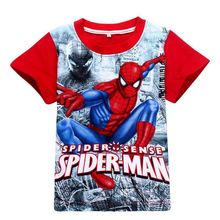 Spiderman T Shirt kids Children's Cartoon Fashion Super Hero characters Summer Cotton Costumes boys Short T-shirt sport clothing