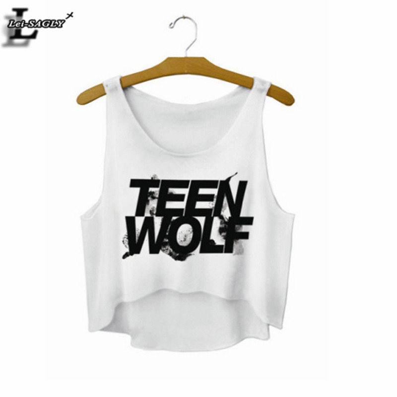 "Lei-SAGLY ""Teen Wolf"" Cartas Crop Top Summer Style Tank Top Mujeres Tops Ropa barata China recortada Moda Mujer Camisole F722"