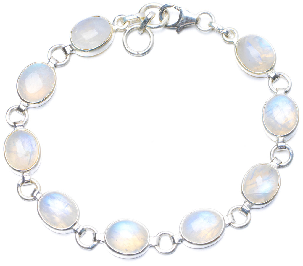 купить Natural Rainbow Moonstone Handmade Unique 925 Sterling Silver Bracelet 7 1/4-7 3/4