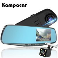 Kampacar Registrar Mirror Car Camera Recorder 2 Video Rear View Camera 4.3 inch Car Dvr With Two Cameras Full HD 1080P Dash Cam