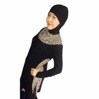 2017 Islamic Swimwear Women Muslim Swimsuit Hijab Swimming Suit Plus Size Print Striped Maillot Femme