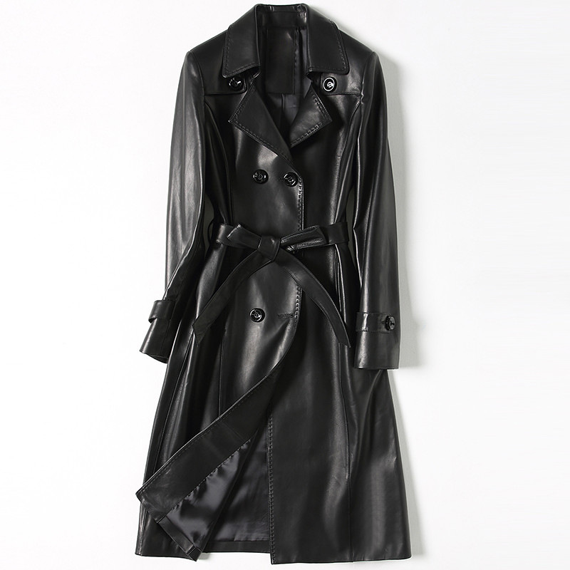Luxury Genuine Real Sheepskin Leather Suede Coat Jacket Lady Dress Spring Autumn Women Outerwear X-Long Garment  LF9025