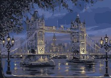 Tower Bridge of London By Numbers Modern Wall Art Handpainted Oil Painting On Canvas For Home Decor Frameless Picture 40*50cm