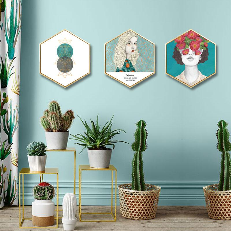 Nordic Style Artistic Figure Hexagonal Decorative Painting Living Room Background Wall Painting Bedroom Studio Framed Triptych