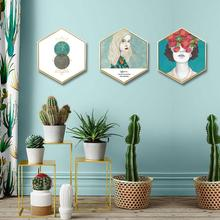 Nordic style Artistic figure Hexagonal decorative painting Living room background wall Bedroom studio framed triptych