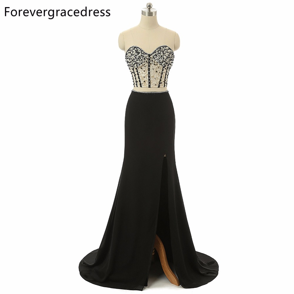 Forevergracedress Real Photo Two Pieces   Prom     Dress   2018 Sexy Sleeveless Beaded Floor Length Long Formal Party Gown Plus Size