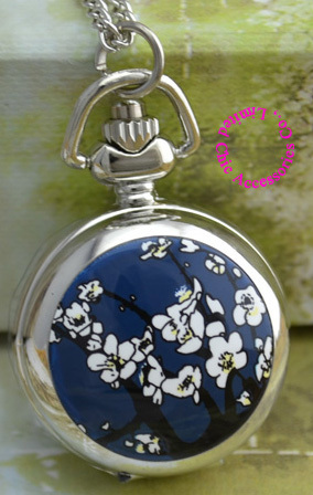 wholesale pocket watch necklace good quality silver mirror sketch drawing blue w