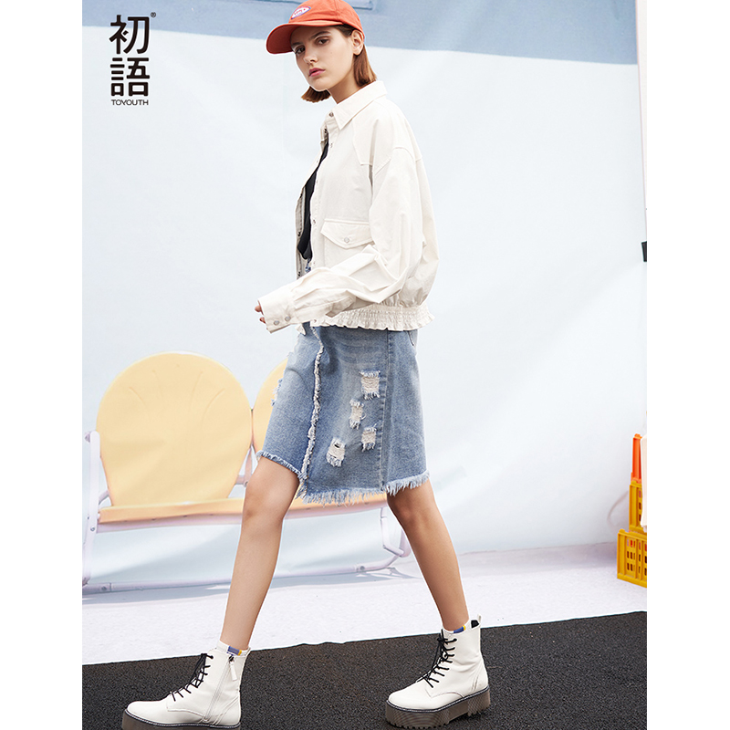 Toyouth 2019 Spring Women Short Jacket Fashion Long Sleeve Stand Collar Loose Coat New Arrival Female