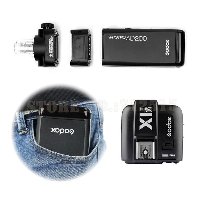 For Sony GODOX-AD200-TTL-2-4G-HSS-1-8000s-Pocket-Flash-Light-Double-Head-200Ws-with-2900mAh