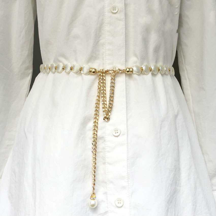 Faux Pearl Dress Belt Apparel Accessories Beautiful And Romantic Fancy Design Clasp Women Waistband Shellfish Chain