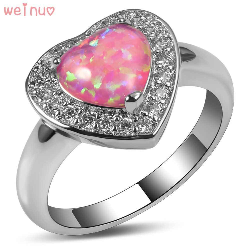 Weinuo ורוד לבן אופל אש קריסטל טבעת כסף סטרלינג 925 למעלה איכות גודל טבעת נישואים תכשיטים מפוארים 5 6 7 8 9 10 11 A355