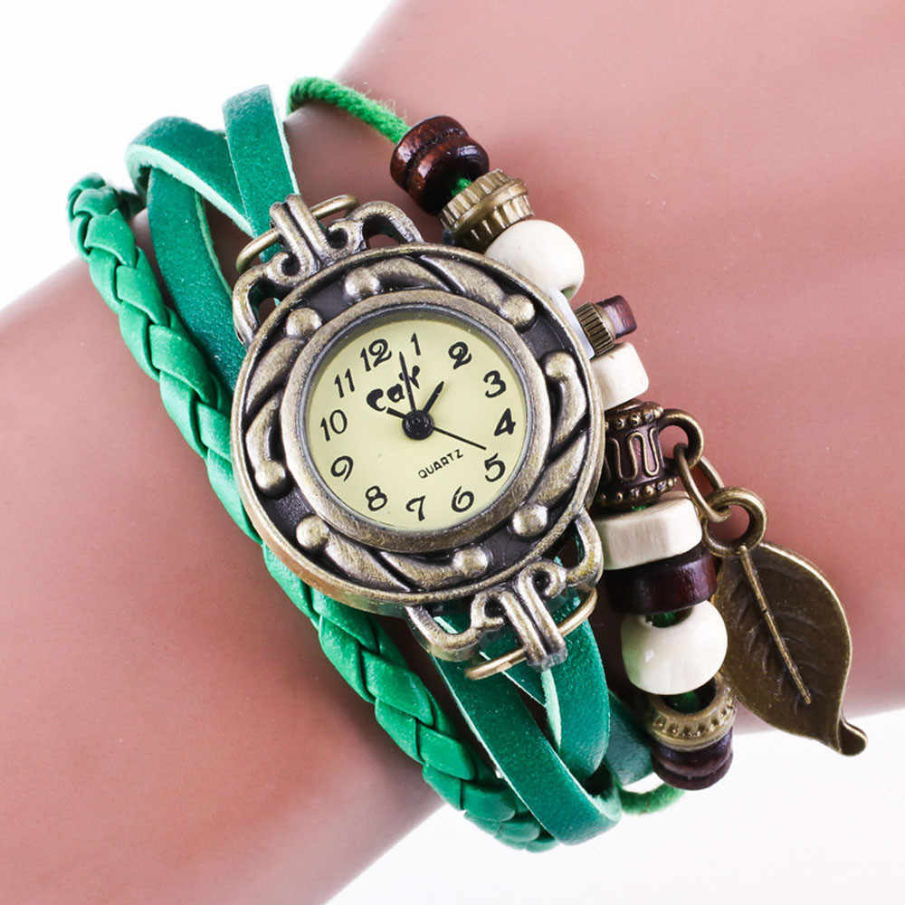 Hot Retro Weave Wrap Lady Bead Leaf Dangle Bracelet Bangle Quartz Wrist Watch Reloj de dama free shipping W