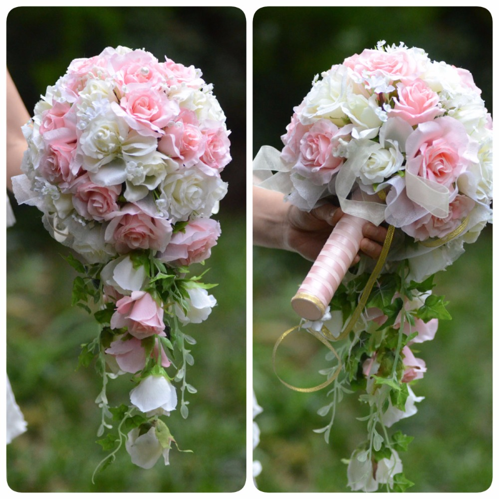 Vintage Wedding Flower Bouquets: Vintage Artificial Flowers Waterfall Wedding Bouquets With