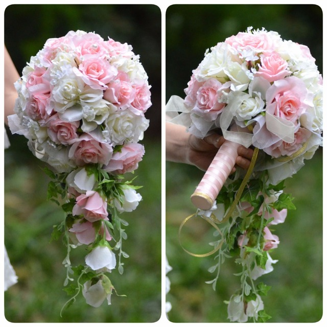 Vintage Artificial Flowers Waterfall Wedding Bouquets With Bridal Brooch Bouquets Brides Bouquet De Mariage 2018 New Hot Sale
